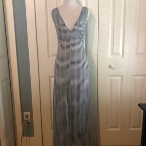 Sheer Blue and White Backless Maxi Dress